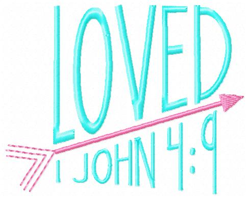 Loved Bible Verse Embroidery Design-loved, bible verse, baby. kids, children