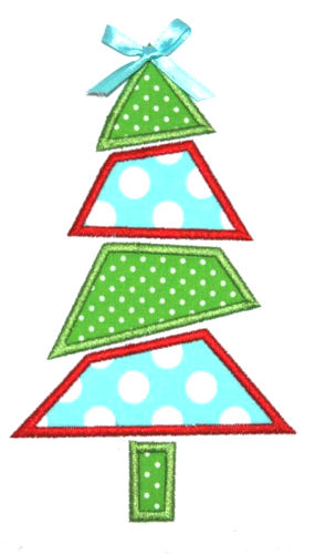 Mod Christmas Tree Applique Design-christmas tree, santa, winter