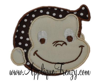 Monkey Face Applique Design-
