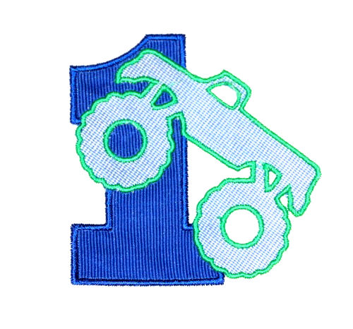 First Birthday Monster Truck Applique Design-birthday, monster truck