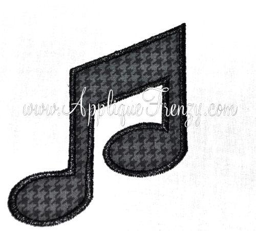 Music Note Applique Design-