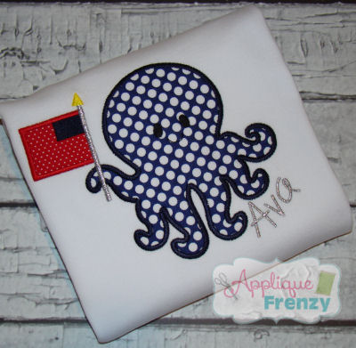Octopus with Flag Applique Design-