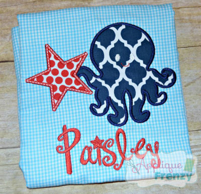 Octopus with Star Applique Design-beach, sealife, summer, 4th of july, independence day