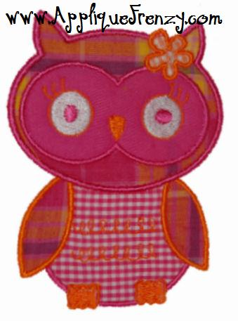 Owl Girl Applique Design-owl, bird, fall, kellys kids