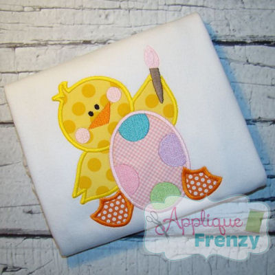 Chick Painting egg Applique Design-