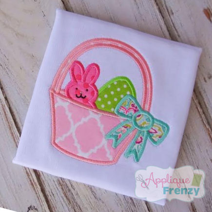 Peep and Eggs in a Basket Applique   Design-peeps, candy, easter, bunny , basket, rabbit