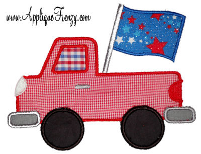 Flag Pickup Applique Design-pickup, flag, usa, patriot, july 4th, fourth of july