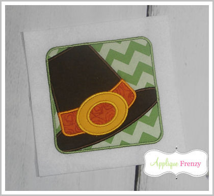 Pilgrim Hat Square Patch Applique Design-