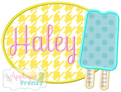 Popsicle Oval Patch Applique Design-Popsicle, ice cream, beach, summer, hot