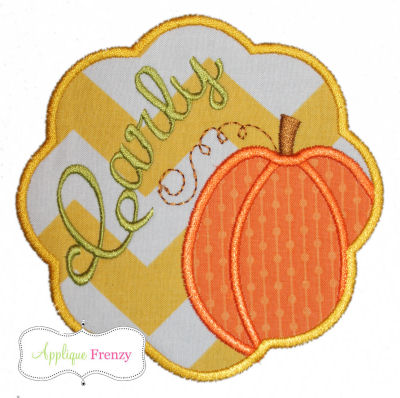 Pumpkin Scallop Patch Applique Design-