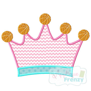 Queen of the Court-BASKETBALL Applique Design-basketball player, bball, queen of the court, basketball princess, sports crown, crown, basketball crown