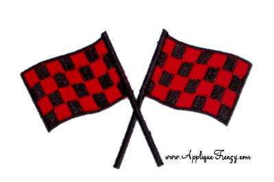 Crossed Racing Flags Applique Design-race, racing, flags, checker flags