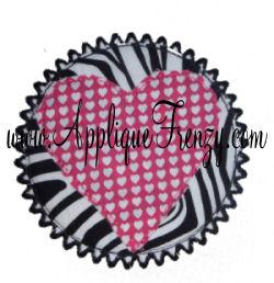 Raggy Circle Heart Patch Ric Rac Edge Applique Design-