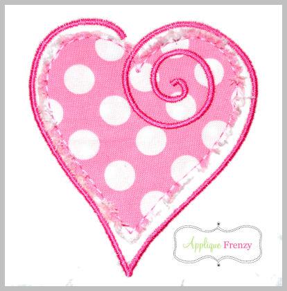 Whimsical Heart Applique Design-