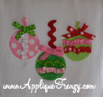 Embellished Ornament Trio Applique Design-