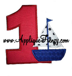 First Birthday Sailboat Applique Design-