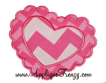 Scalloped Heart Applique Design-