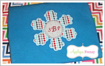 Snowflake Circle Center Applique Design-