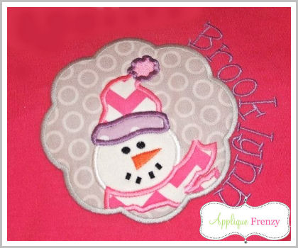 Snowman Scallop Patch Applique Design-