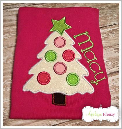 Snow Christmas Tree Applique Design-