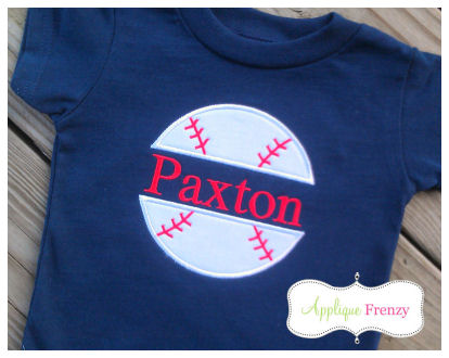 Split Baseball Applique Design-baseball, sports, name, personalized baseball, marlins, braves, rays
