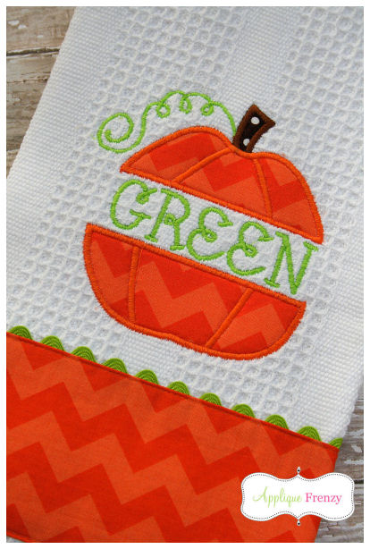 Split Pumpkin Applique Design-pumpkin, fall, back to school