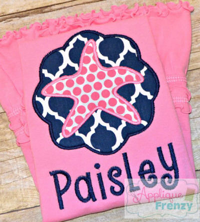 Starfish Circle Scallop Patch Applique Design-