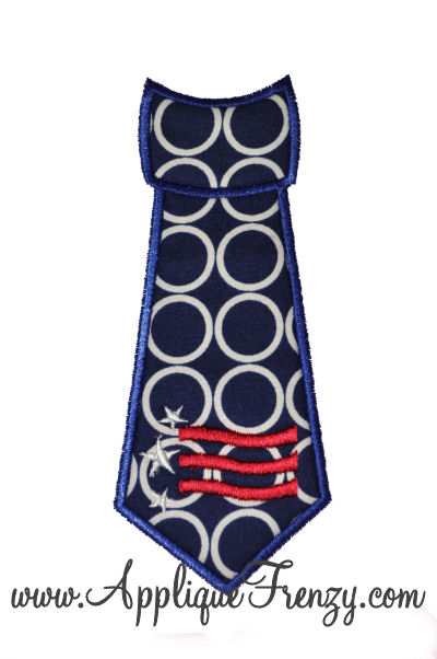 Wavy Stripes Necktie Applique Design-