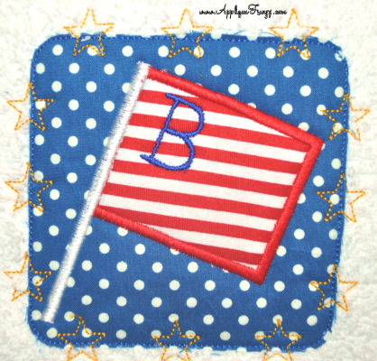 Star Stitch Patch with Flag Applique Design-PATRIOTIC, JULY 4TH, STARS AND STRIPES, STARS, PATCH