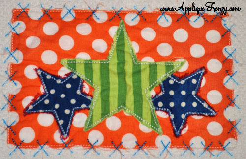 Star Trio Rectangle X Patch Applique Design-