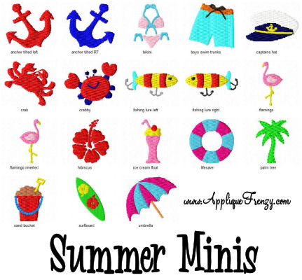 Summer MINIS Embroidery Designs-summer, mini, tiny, embroidery designs