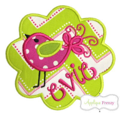 Swirly Bird Scallop Patch Applique Design-