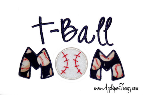 T-Ball MOM Applique Design-tball, t-ball mom, mom, baseball, fan
