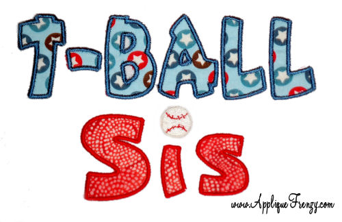 T-Ball SIS Applique Design-t ball, t-ball, sister, sis, softball, baseball