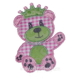 Teddy Bear Princess Applique Design-