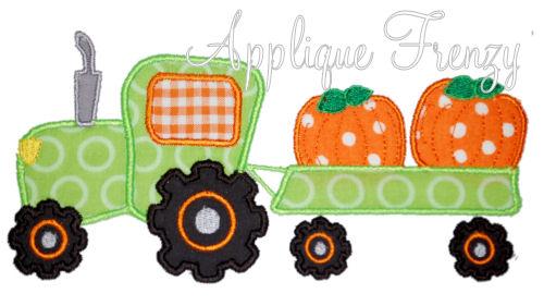 Pumpkin Tractor Applique Design-pumpkin patch, tractor, pumpkins, corn, scarcrow, tractor ride, hay ride.