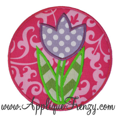 Tulip Circle Patch Applique Design-