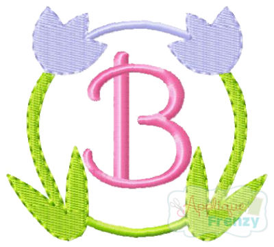 Tulip Circle Embroidery Design-tulip, spring, flowers, bunny, summer