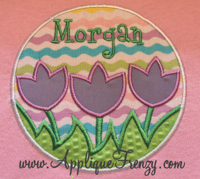Tulip Trio Name Patch Applique Design-