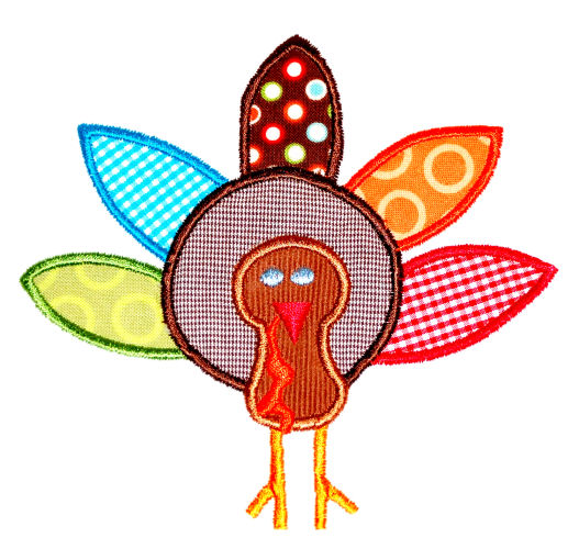 Turkey 2 Applique Design,-