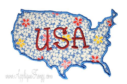 USA Outline Applique Design-