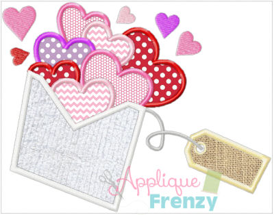 Hearts Envelope with Tag-Hearts, valentine, red hearts, heart, love