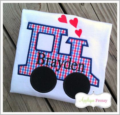 Valentine Heart Smoke Train Applique Design-