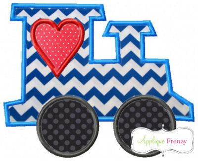 Valentine Heart Window Train Applique Design-