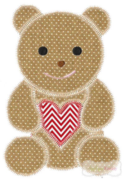 Vintage Valentine Teddy ZIG ZAG Applique Design-