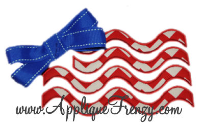 Bow Embelished Wavy Stripes Flag Applique Design-