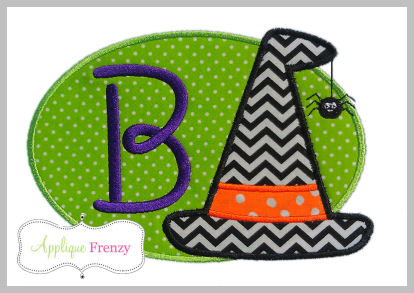 Witch Hat Oval Patch Applique Design-