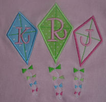 3 Kites Applique Design-spring, kite, summer