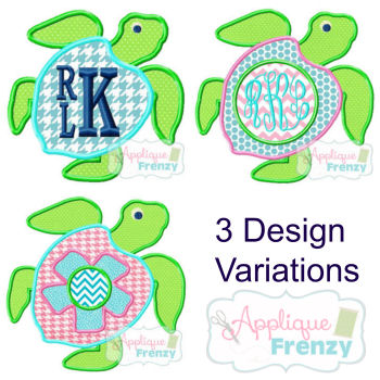 Turtle Applique Design-3 Variations-turtle girl summer
