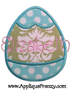 Banded Egg Applique Design-banded egg, easter, bunny, font, curly